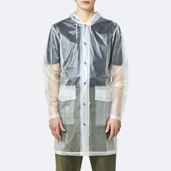 Rains Transparent Hooded Coat 1269 FOGGY WHITE