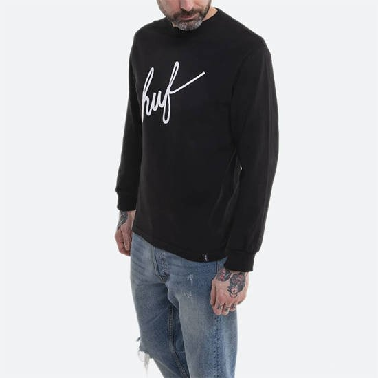 HUF Essential Script Longsleeve x Japan TS01204 BLACK